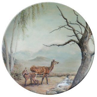Red deer hind with her fawn, art. porcelain plates