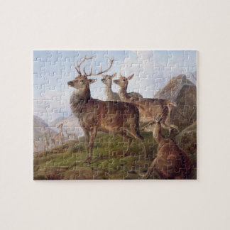 Red Deer in a Highland Landscape, 1872 (oil on can Jigsaw Puzzle
