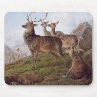 Red Deer in a Highland Landscape, 1872 (oil on can Mouse Mat