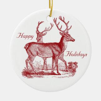 Red Deer Reindeer in Woods Custom Christmas Christmas Ornament