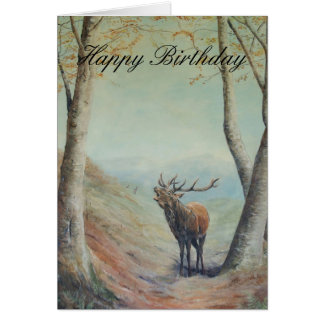 Red deer stag art, Happy Birthday . Card