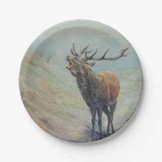 Red deer stag bellowing in a highland glen. 7 inch paper plate