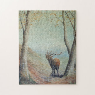 Red deer stag bellowing in a highland glen. puzzles