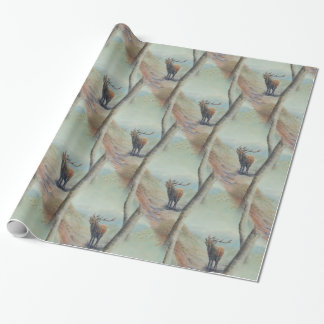 Red deer stag bellowing in a highland glen. wrapping paper