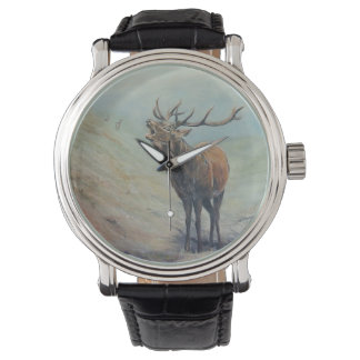 Red deer stag bellowing in a highland glen. wristwatches