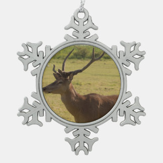 Red Deer Stag Snowflake Pewter Christmas Ornament