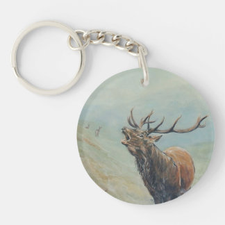 Red deer stag with hind and fawn on back. key ring