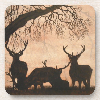 Red Deer Stags Coasters Set