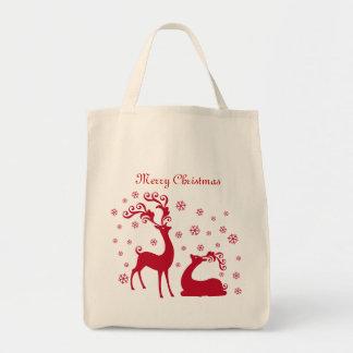 Red Deers and snowflakes Christmas Bag