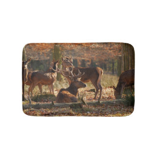 Red Deers In The Autumnal Wood Bath Mats