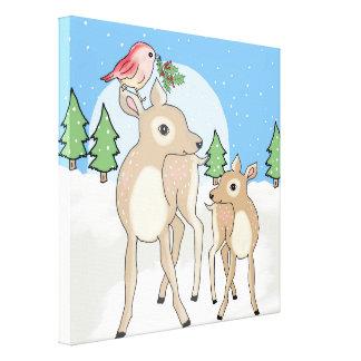 Red deers of Christmas Canvas Print