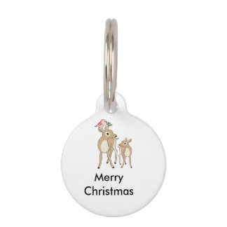 Red deers of Christmas Pet ID Tag