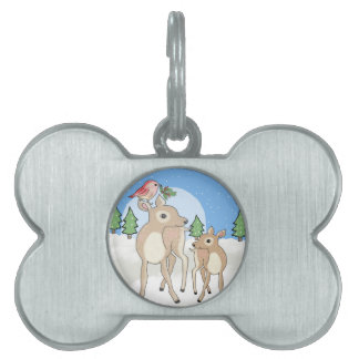 Red deers of Christmas Pet Name Tag