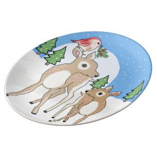 Red deers of Christmas Plate