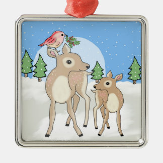 Red deers of Christmas Silver-Colored Square Decoration
