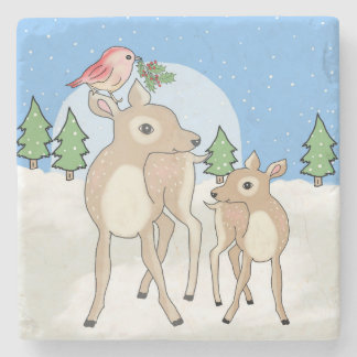 Red deers of Christmas Stone Coaster