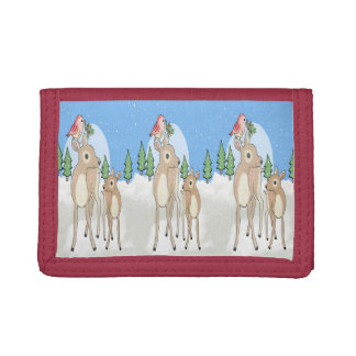 Red deers of Christmas Trifold Wallets