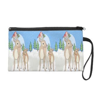 Red deers of Christmas Wristlet