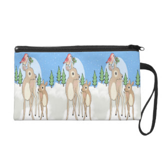 Red deers of Christmas Wristlet Clutches