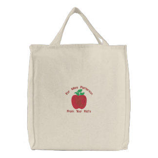 Red Delicious Apple Customise Embroidery Pattern Embroidered Bags