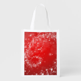 Red Design on Reusable Bag Grocery Bags