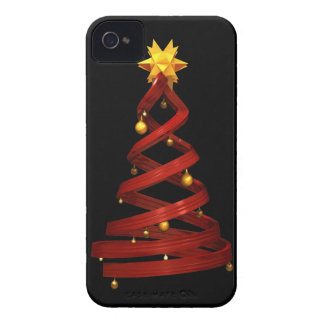 Red design pine and golden balls Case-Mate iPhone 4 cases