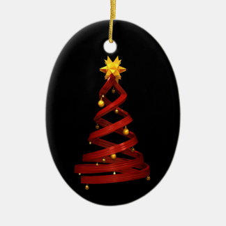 Red design pine and golden balls christmas ornament