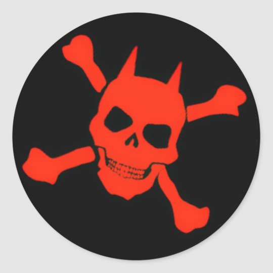 Red Devil Skull Sticker