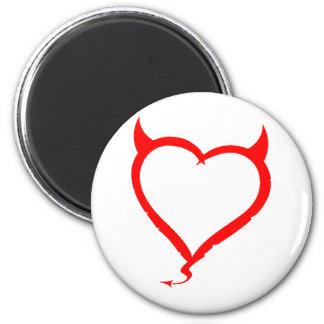 Red Devilish Heart 6 Cm Round Magnet