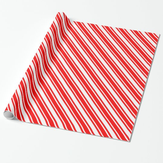 Red Diagonal Candy Cane Stripes Wrapping Paper