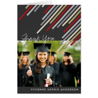 Red Diagonal Stripes Graduation Thank You Card