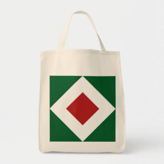 Red Diamond, Bold White Border on Green Grocery Tote Bag
