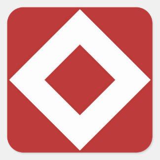 Red Diamond, Bold White Border Square Sticker