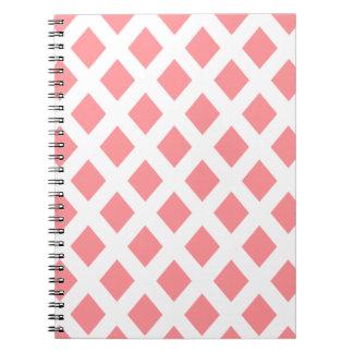 Red Diamond Pattern Spiral Note Book
