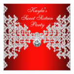 Red Diamond Red Birthday Party 13 Cm X 13 Cm Square Invitation Card
