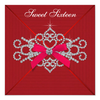 "Red Diamond Red Sweet 16 Birthday Party 5.25"" Square Invitation Card"