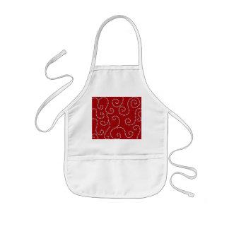 Red diamond swirls kids apron