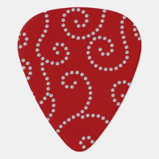 Red diamond swirls guitar pick