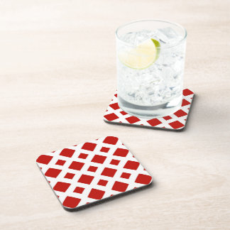 Red Diamonds on White Drink Coaster