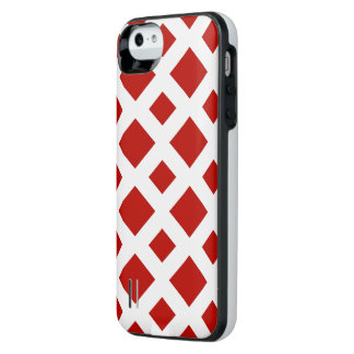 Red Diamonds on White iPhone SE/5/5s Battery Case