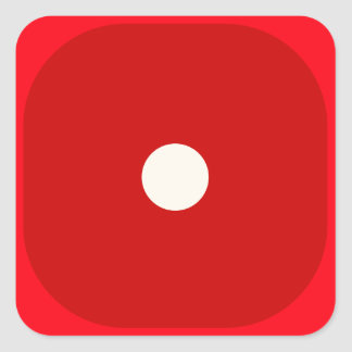 Red Dice Die Roll One Square Seal Square Sticker