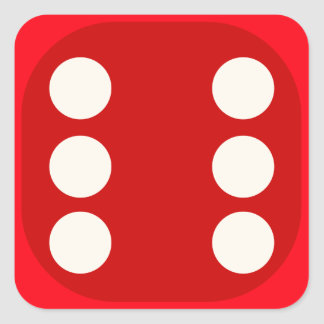 Red Dice Die Roll Six Square Seal Square Sticker