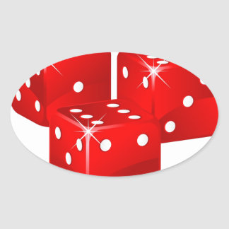 Red Dice Oval Sticker