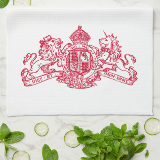 Red Dieu et Mon Droit British Coat of Arms Tea Towel