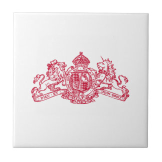 Red Dieu et Mon Droit British Coat of Arms Tile
