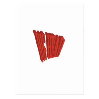 Red Dig Head Dry Brush Postcard