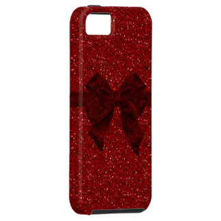 Red Digital Glitter & Bow iPhone 5 Case