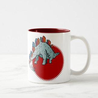 Red dinosaur Two-Tone mug
