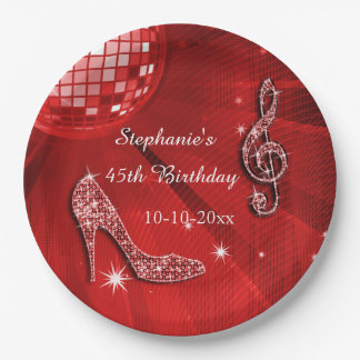 Red Disco Ball and Heels 45th Birthday 9 Inch Paper Plate