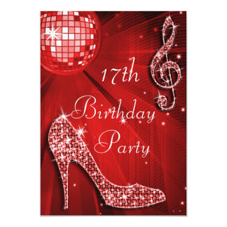 Red Disco Ball and Sparkle Heels 17th Birthday Card